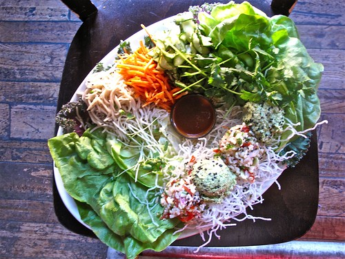 Vegetarian Lettuce Wraps acting humble at Blue