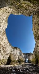 Selwicks bay, Flamborough head (Keartona) Tags: flamborough selwicksbay flamboroughhead natural nature chalk chalky cliffs vertical panorama bluesky sunny landscape yorkshire northyorkshire eastcoast rockarch caves