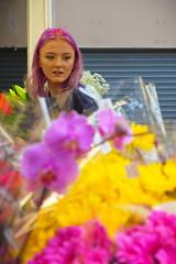 Flower stall girl (chipje) Tags: girl flowers flowerstall market leeds uk pink