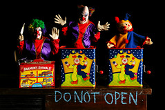 Do Not Open (Studio d'Xavier) Tags: werehere peopleinabox jackinthebox clown creepyclowns binky boomer donotopen stilllife 365 october52016 279366 strobist