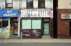 978 Queen St E - March 30, 2003 (collations) Tags: toronto ontario abandoned architecture documentary vernacular storefronts streetscapes builtenvironment deadstores queenstreeteast urbanfabric closedforbusiness emptystores formerstores