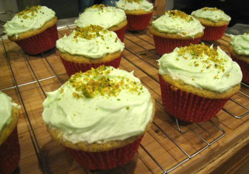 Pistachio Cupcakes with Lime Frosting