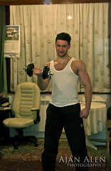 Night exercise (Ajan Alen) Tags: man hot building guy table carpet 50mm chair nikon lift apartment flat exercise body f14 sarajevo room tshirt bodybuilding benjamin flex build fitness gym weight lifting bluish kovac alen zenica flexure d90 kova bjelave ajan