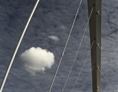 The Squinty Bridge and the Three Puffy Clouds (David (UK) - Gone) Tags: bridge sky scotland suspension glasgow arc anderston thesquintybridge chdk glasgowarcbridge threepuffywhiteclouds