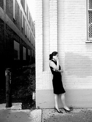 Her call (stephieseye) Tags: street bw black girl boston call phone dress candid heels iphone iphoneography