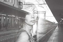 Exp #08 - Show me the way (mickiky) Tags: woman selfportrait me station myself blackwhite donna doubleexposure rail railway trains via autoritratto remotecontrol stazione ritratto ways biancoenero autoscatto treni
