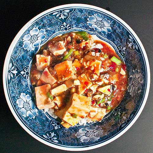 Mapo Tofu in bowl, overhead shot