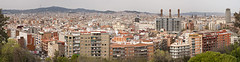 Barcelona on a warm grey day...(1) (Trapac) Tags: barcelona urban panorama spring spain nikon cityscape landmarks catalonia espana photomerge catalunya sagradafamilia overlooking viewpoint torreagbar montjuic lacatedral thethreechimneys nikkor3570mm d700 lacanadenca nikond700 11images