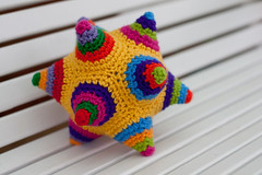 Colorful Crocheted Dodecahedron (MossyOwls) Tags: geometric toy 3d stuffed colorful soft pointy handmade crochet softie dodecahedron