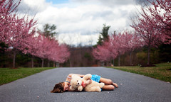 xli (Steven Sites) Tags: bear street pink trees tree colors girl canon easter cherry outside eos 50mm spring dress teddy blossom pavement sleep mark f14 katie down line driveway ii sakura 5d steven lying sites lingan stevensites katielingan