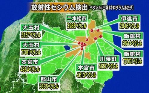 福島県の土壌中の放射性セシウム