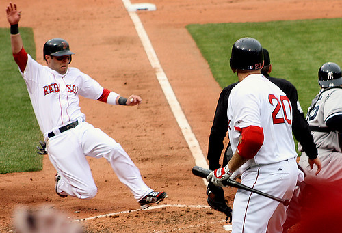 Pedroia's slide into home 1