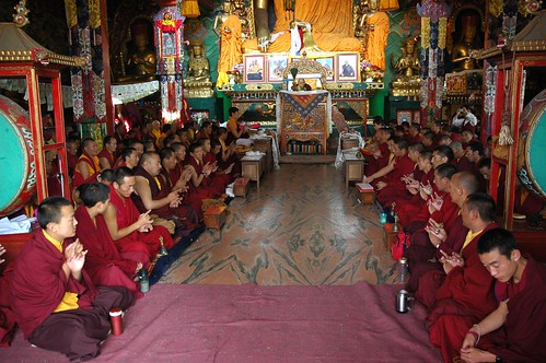 Mudras, Lamas chasing the harmful away, prayers, dedication of merit, Tharlam Monastery of Tibetan Buddhism, His Holiness Jigdal Dagchen Rinpoche presiding, Lamdre, Boudha, Kathmandu, Nepal