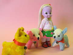 Luma and the dogs (Helena / Funny Bunny) Tags: dog vintage toy doll 1972 illuminati luma funnybunny emeraldwitch solidbackground fbfashion
