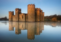 Stronghold (Duncan George) Tags: uk mist reflection castle reflections landscape sussex landscapes nikon fort fantasy waterfeature moat nationaltrust stronghold middleages bodiamcastle fairystory d700