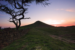 Sunset Topping #2 (Dave Brightwell) Tags: sunset red sky sun tree grass wall clouds rural landscape scenery dusk path sony yorkshire hill scenic tracks ufo nd filters hitech topping grads manfrotto roseberry