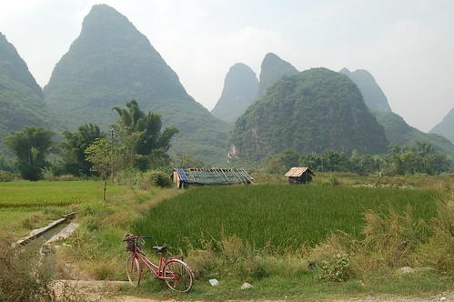 Fahrrad vor Reisfeld vor Hütten vor Turmkarstlandschaft in der Nähe von Yangshou