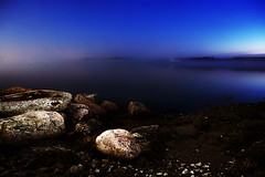 Mystic Lake (jethansen) Tags: blue sunset beach nature fog night canon landscape scenery dusk hdr mystic 30d