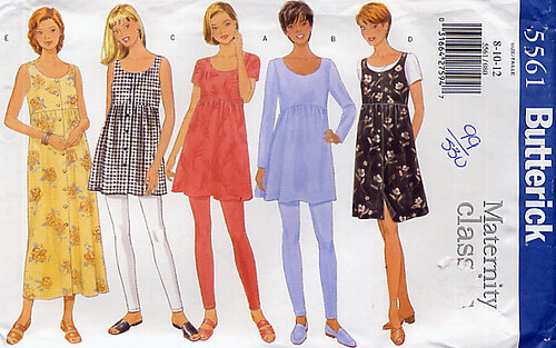 maternity patterns Butterick 5561 Maternity Dress, Top & Leggings portfolios models