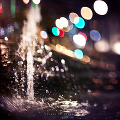 231/365 Spash of Bokeh (brandonhuang) Tags: light texture water fountain lens lights bokeh free textures splash strobist brandonhuang freelens freelensing freelensed