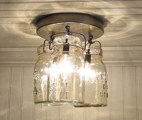 Vintage Canning Jar Ceiling Light