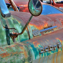 Dodge Truck - still RAM tough after 50 years! (StGrundy) Tags: auto door old usa white classic abandoned broken window rural truck vintage georgia logo mirror junk nikon rust automobile unitedstates antique decay south rusty pickup rearviewmirror automotive pickuptruck voiture southern faded rusted 1950s dodge hood rps trucks junkyard scrapyard d100 southeast oldtruck salvage hdr highdynamicrange cracked decayed bartowcounty classictruck crumbling deepsouth vintagetruck cargraveyard oldcarcity 3xp photomatix wreckingyard supershot tonemapped d80 roswellphotographicsociety platinumheartaward cementeriodecoches cemitriodeautomveis cimetiredevoitures stgrundy cimiterodiautomobile frps040211 lewisworldofparts