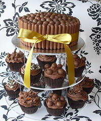 Chocolate Cupcake Tower (Sugar Ruffles) Tags: tower cake chocolate fingers cupcake maltesers