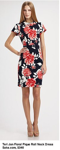 Saks.com - Teri Jon - Floral Piqué Roll-Neck Dress