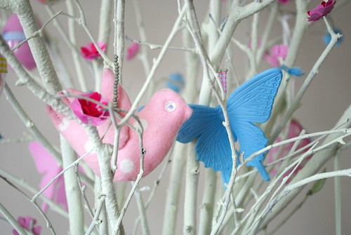 Hand-made bird hiding in my Easter Tree