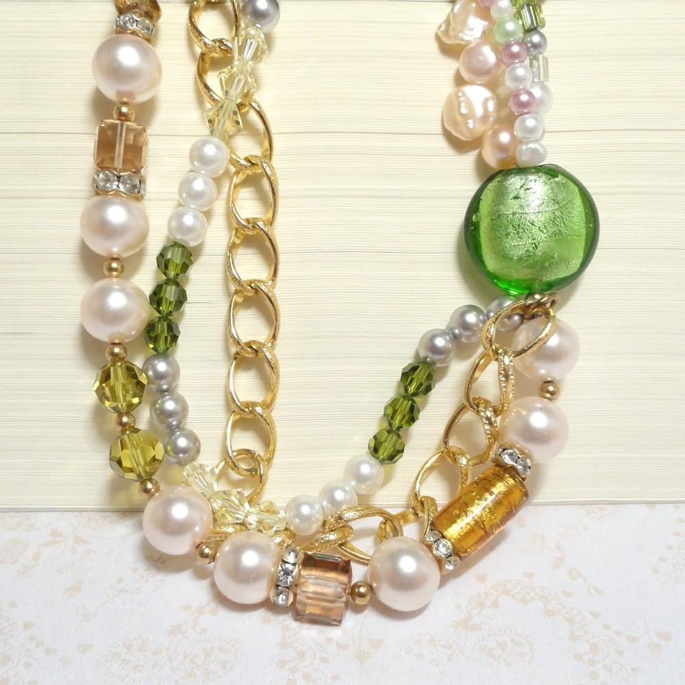 Pearl Choker Necklace with Crystal & Gold - Emerald Eye