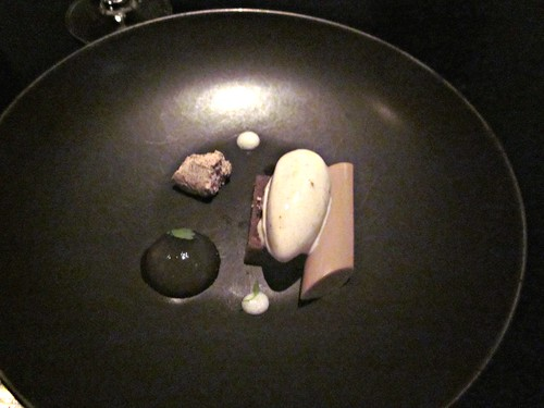 Benu - San Francisco - April 2011 - Banana Ice Cream, Burnt Acorn Gelee, Burnt Acorn Bread Pudding, Ginger