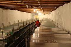 Ice cores wintering over in the core processing arch basement (Tim Barthomolaus in photo)
