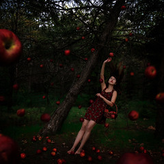 An Alternate Point of View (Polen Erciyas) Tags: trees apple girl point view distorted surreal an gravity badge bendover alternate crookedtree fallingapples