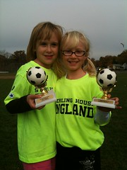Lucy and Maggie (Area Bridges) Tags: lucy team october connecticut soccer maggie magnolia trophies stratford 3gs 2010 iphone hammel teamengland sterlinghouse october2010 october302010