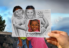 6 - Pencil Vs Camera for Art Official Concept (Ben Heine) Tags: hello poverty family famille light portrait sky game color detail art love girl smile childhood trois sisters composition portraits paper children fun photography three sketch hilarious colorful photographie play hand friendship hole cloudy drawing sister mixedmedia main creative tshirt dessin illusion amour transparency laugh photoediting reality imagination series relatives trio enfant fille sourire hold connection soeur caboverde trou draft jeu afrique derrière croquis capeverde miseenabyme enfance postprocessing teethe capvert theartistery metisse misère benheine pencilvscamera artofficialconcept
