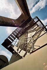 Is that a ladder on your zeche or a stairway to heaven? (Brick_Man_Photos) Tags: abandoned northwest lookingup upskirt westgermany industrialdecay canoneos300 industrialarchitecture tokina1935mm derelictindustry zechemania essencoalfield random35mmfilm