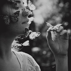 the butterfly whisperer (Ana Lusa Pinto [Luminous Photography]) Tags: light blackandwhite bw girl branco butterfly square soft hand preto goldenhour quadrado