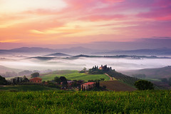 valley of fog (Dennis_F) Tags: morning italien sky italy white house mist green nature colors grass fog landscape dawn spring italia sony country hill la