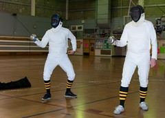 2 on 2 Epee Fencing (SQKnSEA) Tags: seattle sports washington fencing recreation gym epee infocus fourpeople communitycenter highquality fdl 2v2 2on2
