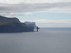 A Fulmar Captured by The Giant and the Hag, Risin og Kellingin, Faroe Islands (Eileen Sand) Tags: ocean sea bird nature giant island islands europa europe view north may atlantic explore scandinavia faroeislands faroe hag risin faroes 2011 froyar frerne eiiskollur mlingur fa