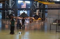 Steven F. Udvar-Hazy Center: Family with SR-71 Blackbird and Space Shuttle Enterprise in the distance