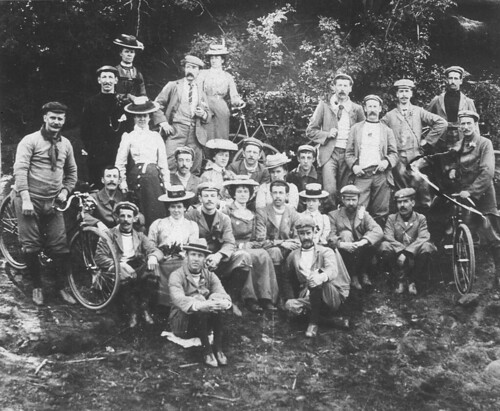 Waratah Rovers Bicycle Club (WRBC) on tour. Sydney - Campbelltown - Appin - Bulli - South Coast. Photo taken at Picton - Picton, NSW, October 1900