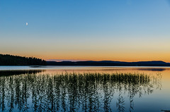 Clear evening (ArtDvU) Tags: lake lakescape lakeshore half moon summer evening night hills finland sotkamo kiantajrvi kianta nikon d7000 sunset dusk landscape