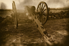 Smoke, Powder and Dust, Gettysburg (SunnyDazzled) Tags: gettysburg battlefield us civil war pennsylvania national monument cannon sunset flare oldfashioned effects retro history sepia