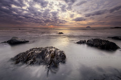 Purple haze (Stuart Stevenson) Tags: longexposure sunset sky shells seascape seaweed beach water photography coast scotland rocks waves wideangle lowtide westcoast seashore limpets irishsea ailsacraig firthofclyde clydevalley southayrshire canon1740mm scottishwestcoast thanksforviewing canon5dmkii stuartstevenson stuartstevenson foxsdarkaniseedliquoricesweets