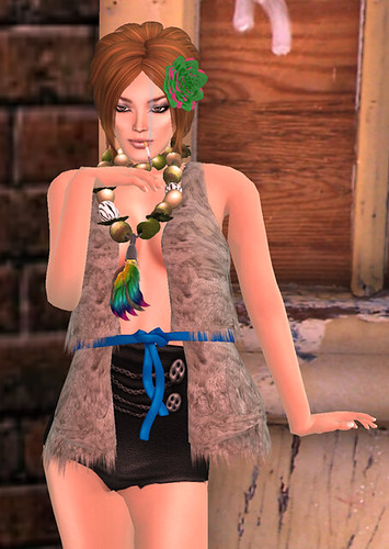 Clawtooth: Flower Power + {SMS} Fur Vest Light Grey