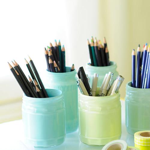 DIY painted glass jars