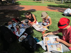 Picnic outside ANZ Statium (Gavin Anderson) Tags: sydney essendon 3411 anzstadium closematch footyweekend