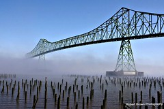 Morning Fog, Lifting (Robert_Brown [bracketed]) Tags: county bridge red brown building robert fog oregon canon river rebel columbia astoria pilings megler clatsop