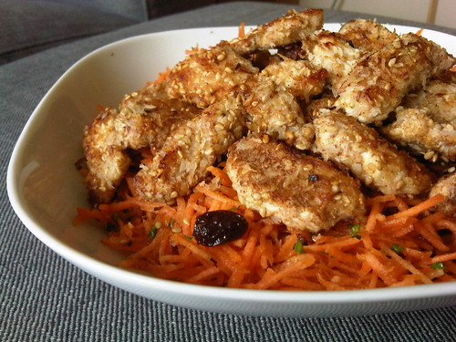 Carrot salad with coconut sesame chicken